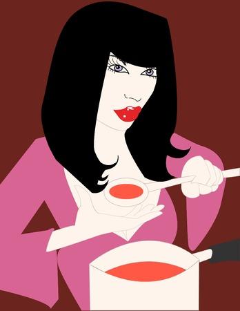 Koken Woman  Stock Illustratie