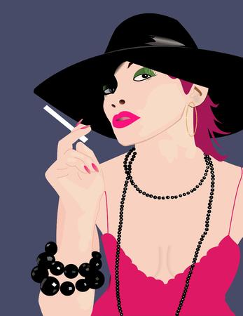 vector illustration of an extravagant glamour lady Stock Vector - 3336212