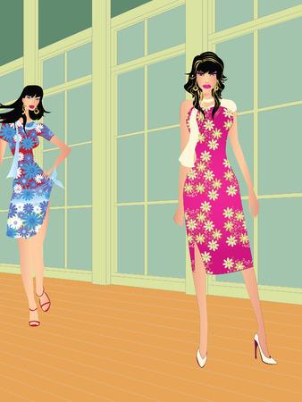 runaway: Dos modelos de alta moda en moda galopante  Vectores