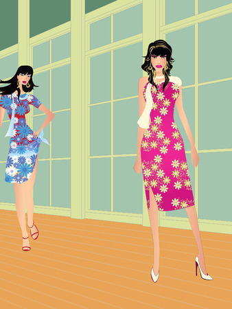 Two high fashion models on fashion runaway Vector