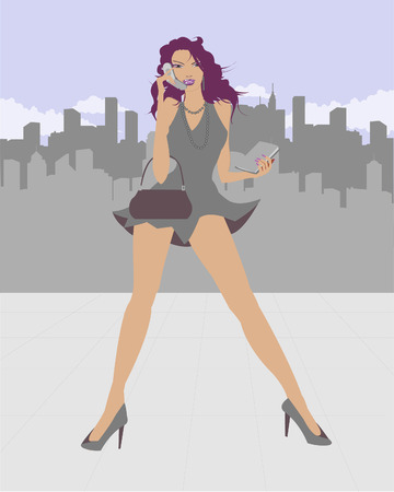 business woman talking on the phone Illustration