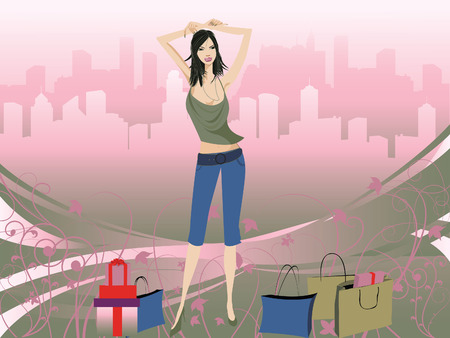 shopping diva with bags  Vector