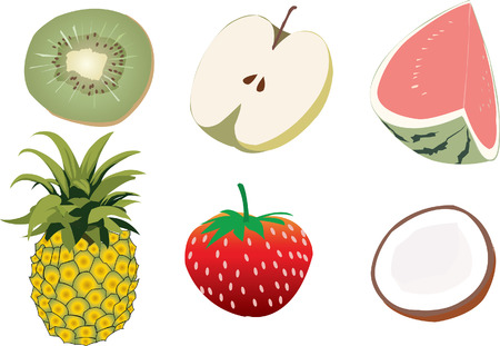 Fruit set: Watermelon pineapple apple coconut kiwi Strawberry Illustration