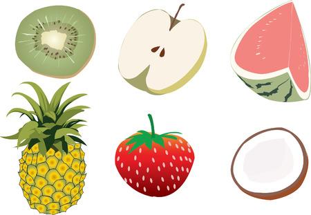 food groups: Fruit set: Watermelon pineapple apple coconut kiwi Strawberry Illustration