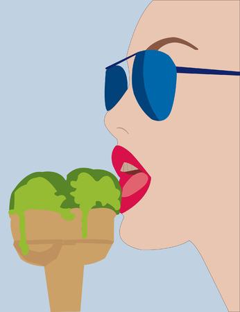 vrouw met een ijs eten  Stock Illustratie