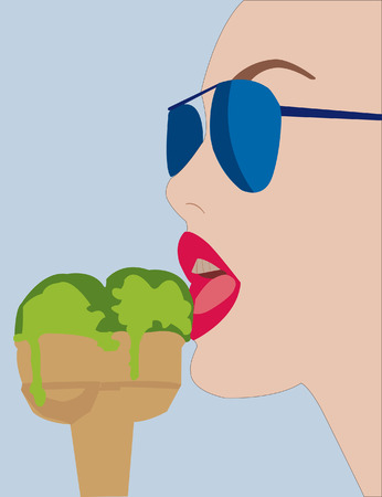 woman eat: woman eating an icecream