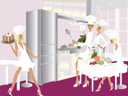 Modern Kitchen and Four cook woman cooking Vector