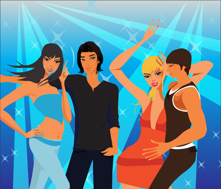 Four disco dancers having fun in a night-club.