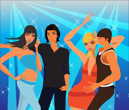Vier disco dansers hebben plezier in een nachtclub. Stock Illustratie