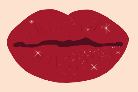 pucker: vector illustration of red shiny y lips.