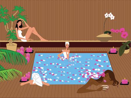 Vier meisjes te ontspannen in een exotische spa sauna. Vector Illustratie