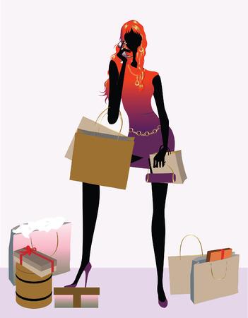 cosa: Retro chica de compras con bolsas de ilustraci�n vectorial Vectores