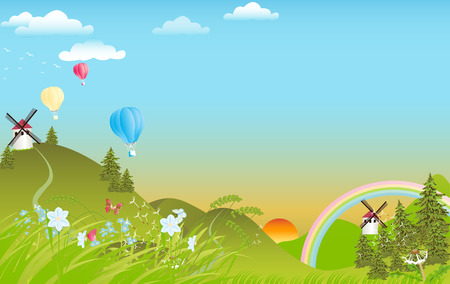 Spring landscape with rainbow and hot air balloons Illustration