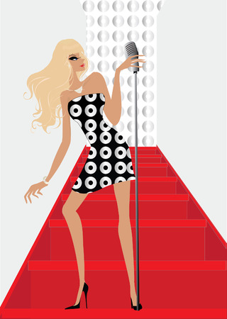 Pop star singing on the stairs at the microphone
