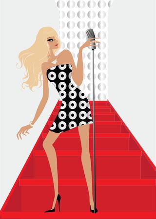 Popster zingen op de trap op de microfoon Stock Illustratie