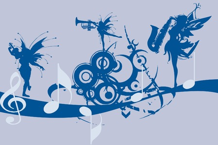 Stylish design of music notes with fairies singing Vector