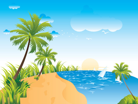 Tropical beach with palm trees  イラスト・ベクター素材