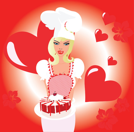Blond chef with valentine cake and hearts background Vector