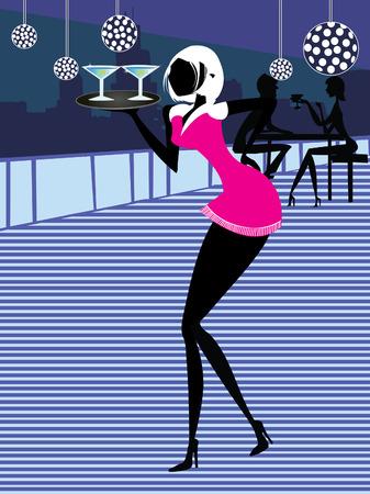 Illustration of a retro waiter serving cocktails.
