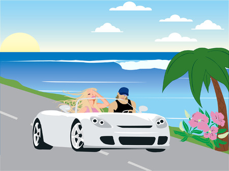 Couple driving a luxurious car in a tropical place. Ilustrace