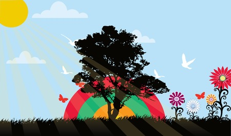 Landscape with many trees flowers vector illustration