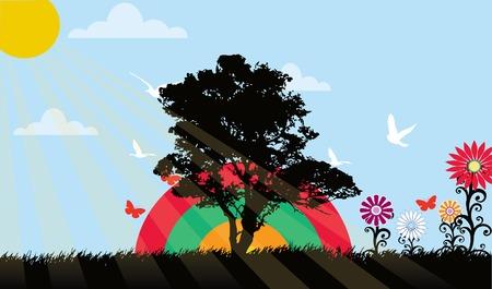 Landschap met veel bomen bloemen vector illustratie  Stock Illustratie