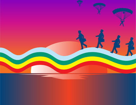 Conceptuele stuk. Business mensen lopen over the rainbow