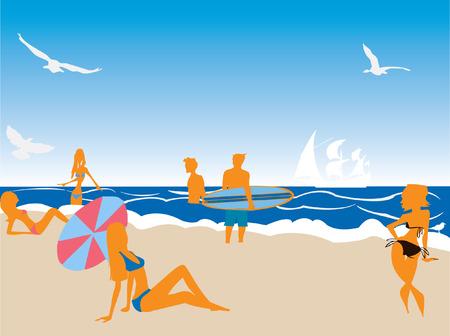 Afbeelding van mensen plezier op het strand  Stock Illustratie