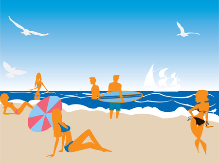 people having fun: Illustration of people having fun at the beach