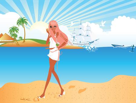 mujer feliz fondo blanco: Chica caminando por la playa