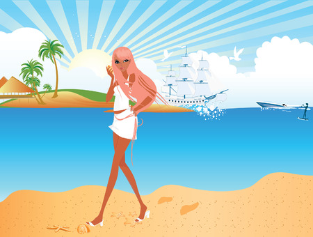 Girl walking on  the beach Vector