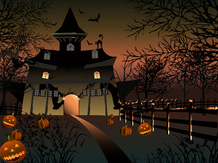 Illustration of a haunted mansion in Halloween time