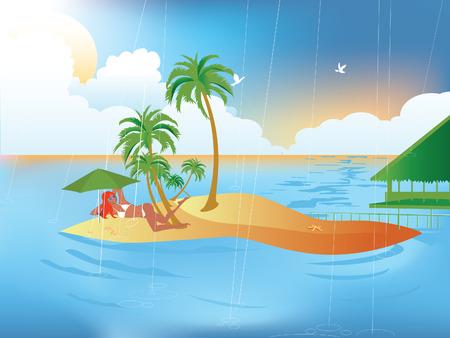 Tropische regen Stock Illustratie