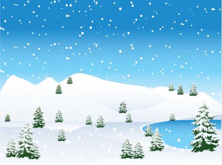 snowcapped landscape: River Cottage Illustration