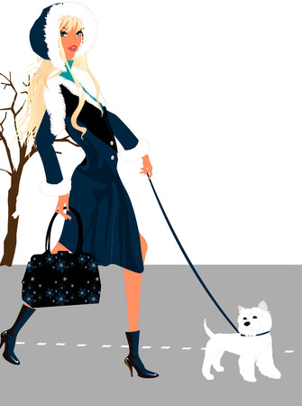 dog walking: Lady and the Dog Illustration