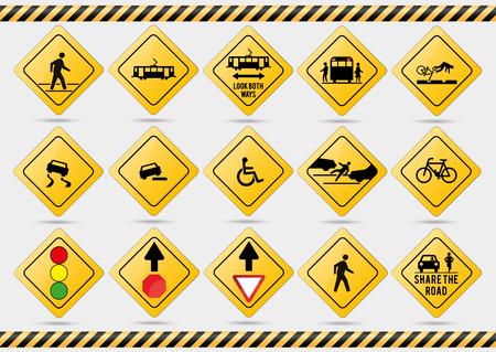 American traffic signs. Vector illustration of traffic signs.