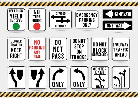 American traffic signs. Vector illustration of traffic signs. Illustration