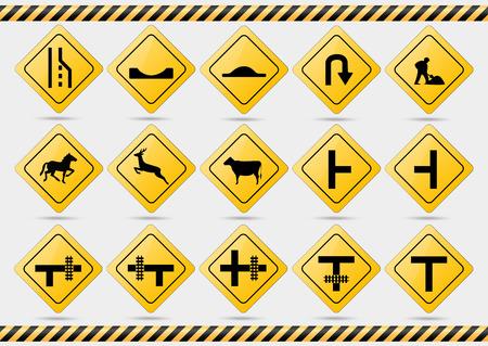 Amerikaanse verkeersborden. Vectorillustratie van verkeersborden. Stock Illustratie