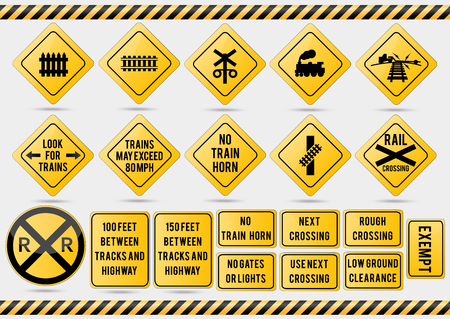 American traffic signs. Vector illustration of traffic signs. Illustration