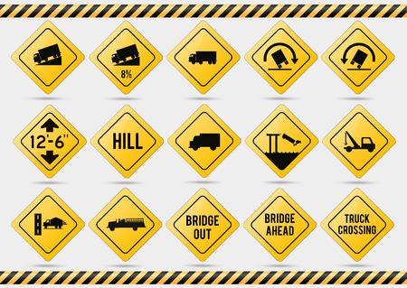 American traffic signs. Vector illustration of traffic signs. Ilustração