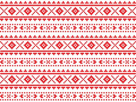 Roumanian, Ukrainian, Belarusian red embroidery seamless pattern  イラスト・ベクター素材