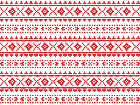 Roumanian, Ukrainian, Belarusian red embroidery seamless pattern 向量圖像