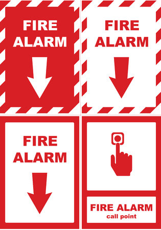 Fire alarm call point vector sticker. Illustration