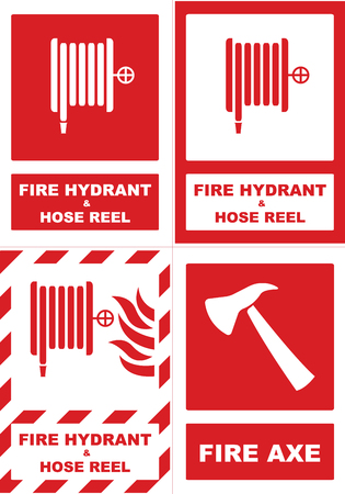 Fire hydrant and hose reel sticker.