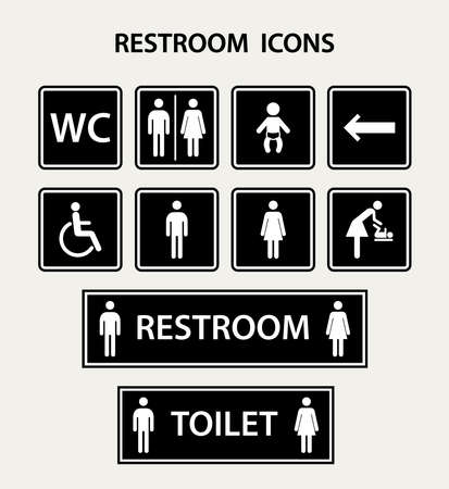 Vector restroom icons with men,women, lady, man, baby's dummy,nipple, child and disability on square.Restroom icon set.
