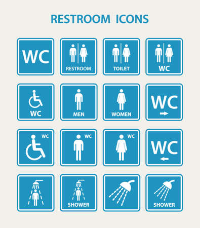 Restroom icons with man and women. EPS10 vector illustration. Vettoriali