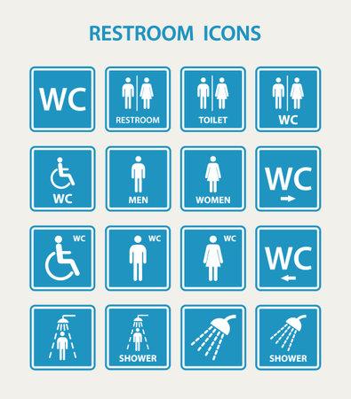 Restroom icons with man and women. EPS10 vector illustration. Vektoros illusztráció