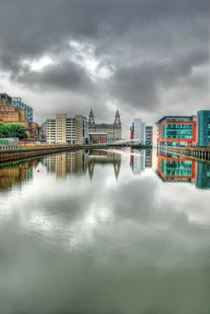 Princes Dock - Liverpool showing the Liver Buildings in the distance and the new office developments through urban regeneration Stock Photo - 8046205