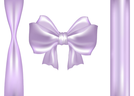 Realistic Pink & Purple satin bow and ribbons