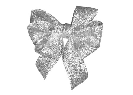 Shiny sparkling silver six loop gift bow